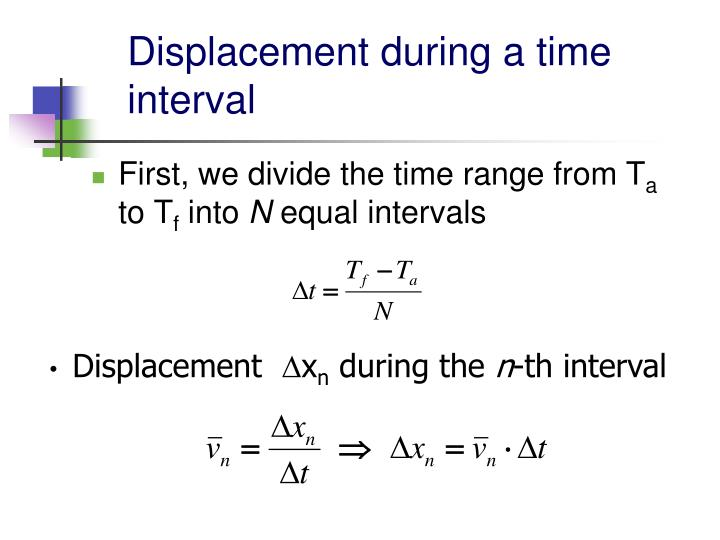 Displacement during a time interval