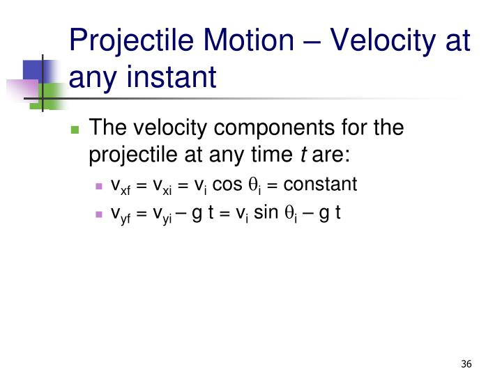 Projectile Motion – Velocity at any instant