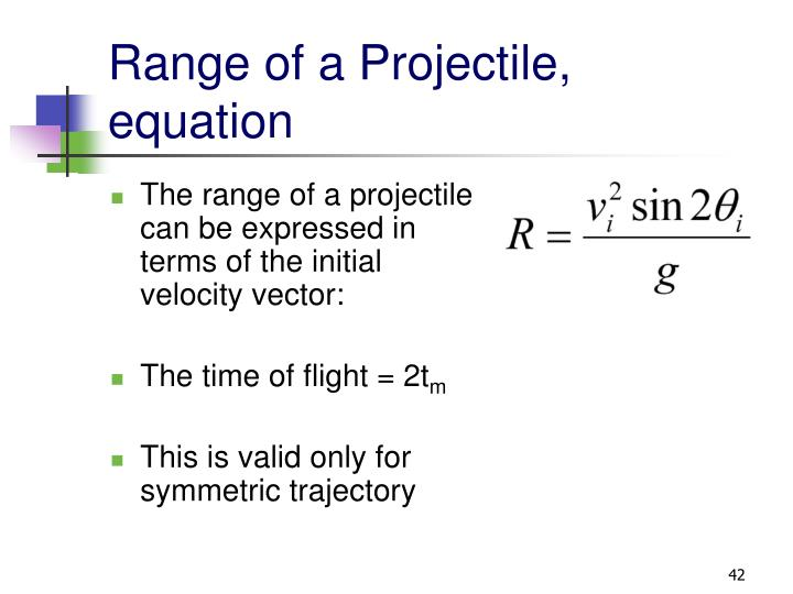 Range of a Projectile, equation