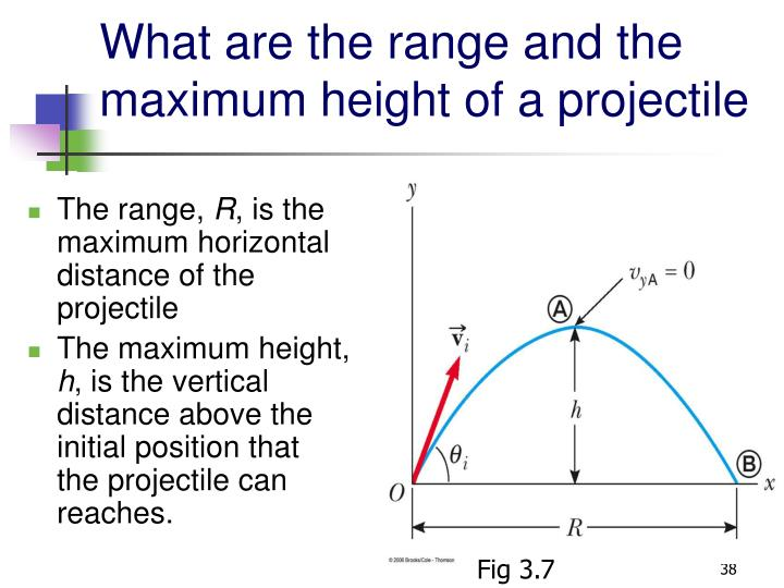 What are the range and the maximum height of a projectile