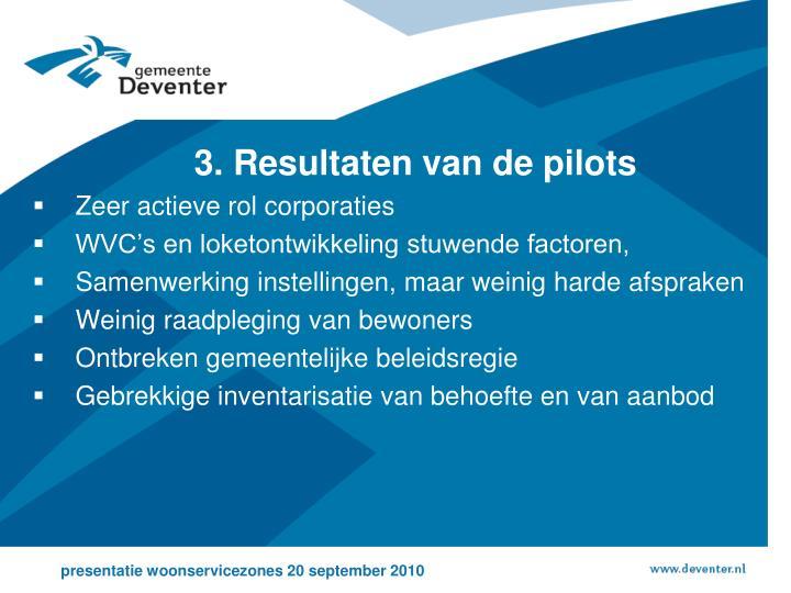 3. Resultaten van de pilots