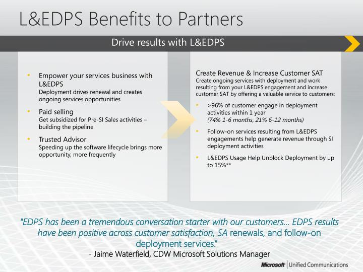 L&EDPS Benefits to Partners