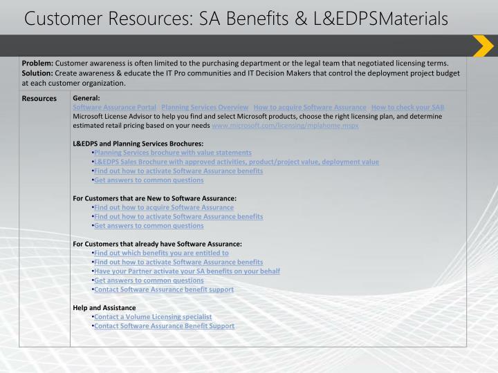 Customer Resources: SA Benefits & L&EDPS