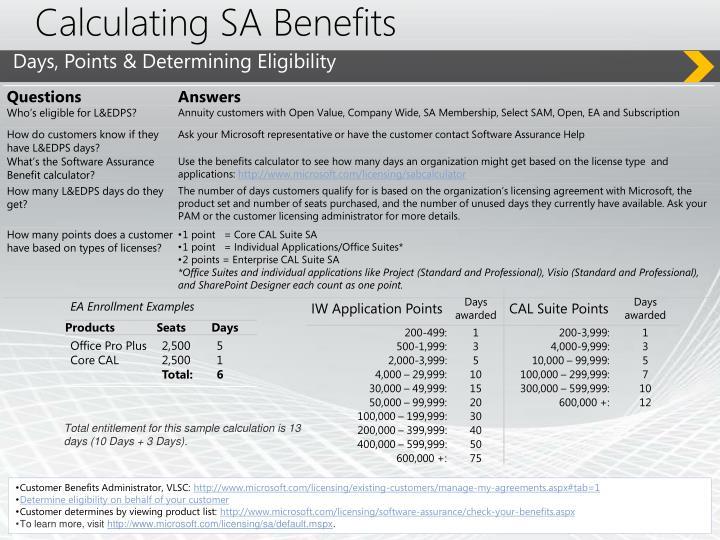 Calculating SA Benefits