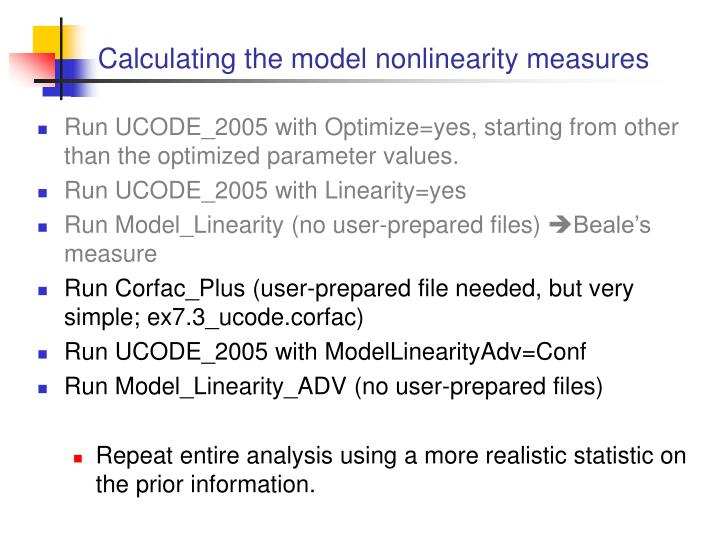 Calculating the model nonlinearity measures