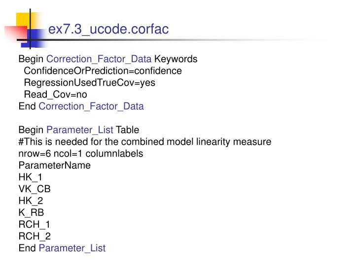ex7.3_ucode.corfac