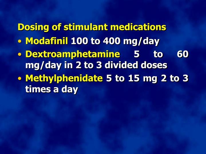 Dosing of stimulant medications