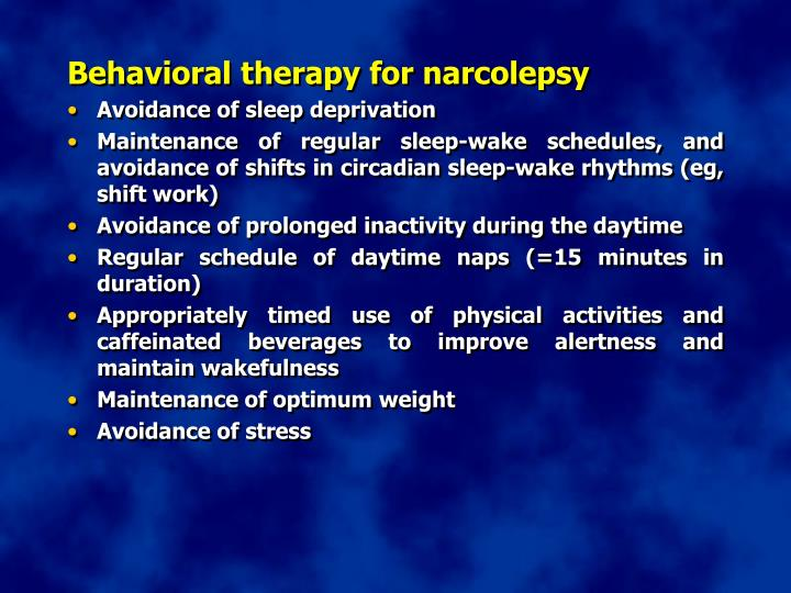 Behavioral therapy for narcolepsy