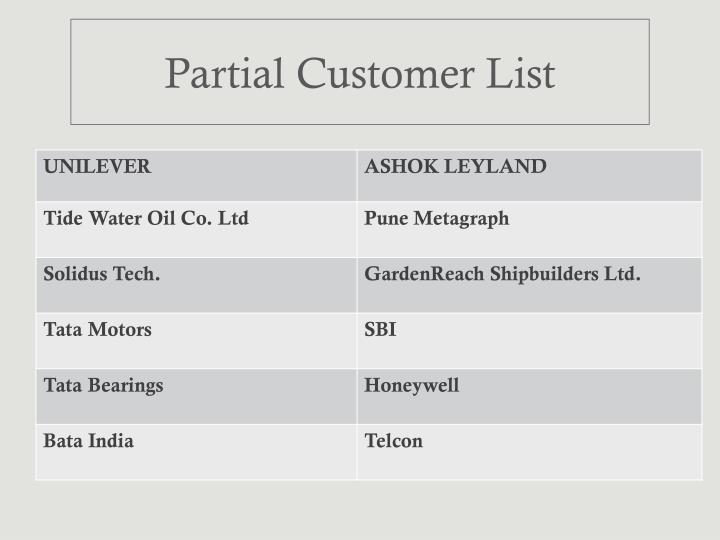 Partial Customer List