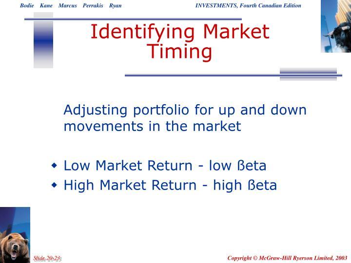 Identifying Market Timing