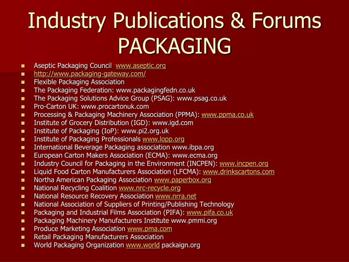 Industry Publications & Forums PACKAGING