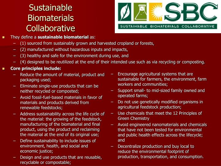 Sustainable Biomaterials Collaborative
