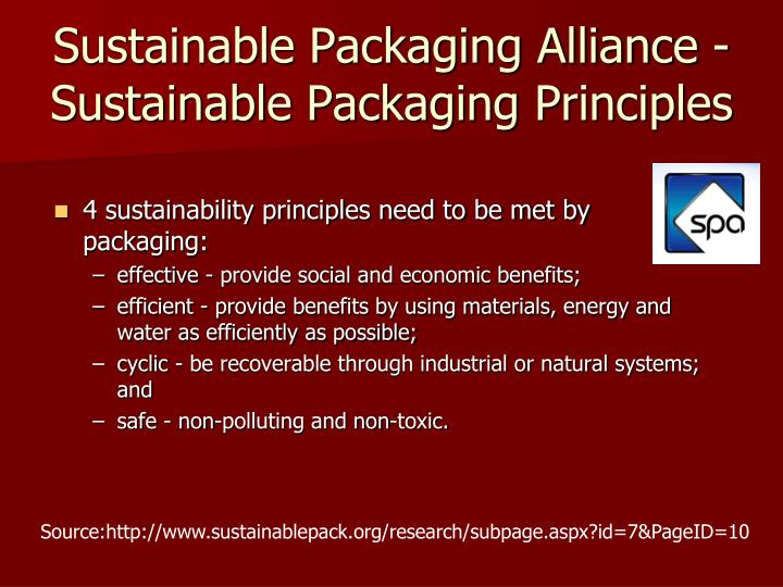 Sustainable Packaging Alliance -Sustainable Packaging Principles