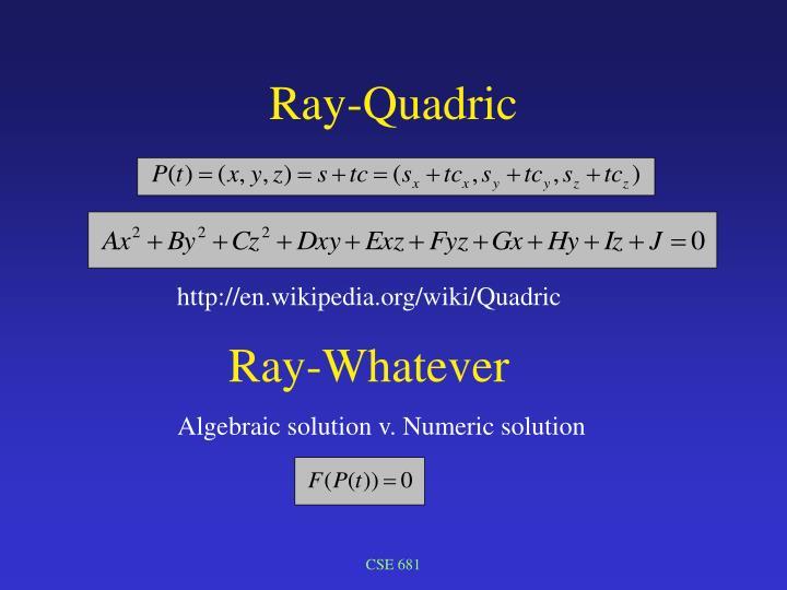 Ray-Quadric
