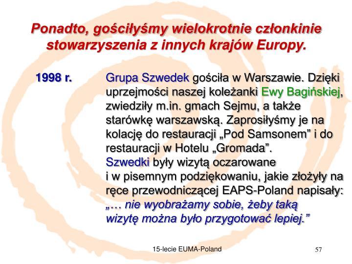 Ponadto, gościłyśmy wielokrotnie członkinie stowarzyszenia z innych krajów Europy.