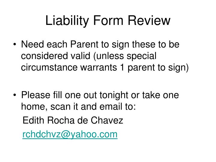 Liability Form Review