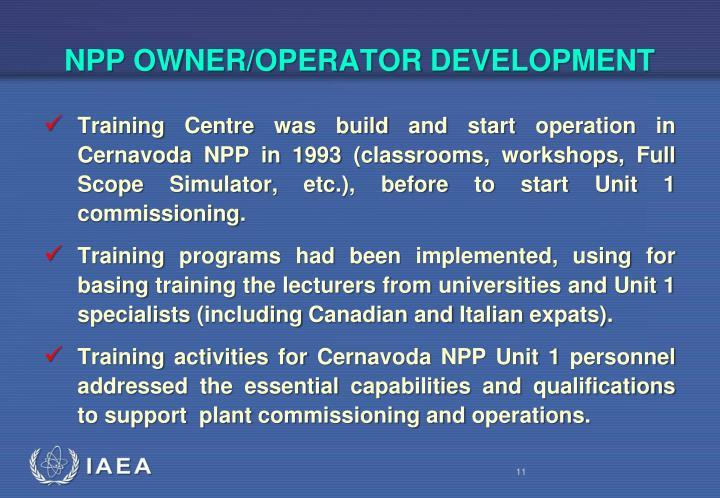 NPP OWNER/OPERATOR DEVELOPMENT