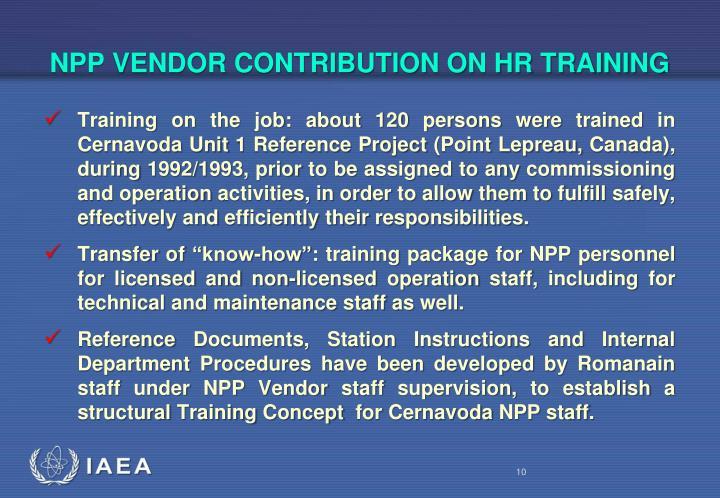 NPP VENDOR CONTRIBUTION ON HR TRAINING