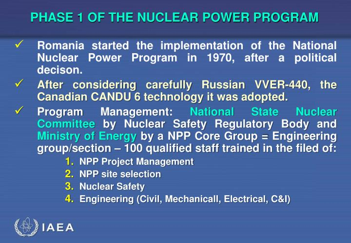 PHASE 1 OF THE NUCLEAR POWER PROGRAM