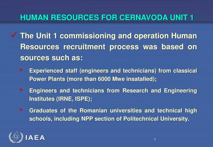 HUMAN RESOURCES FOR CERNAVODA UNIT 1