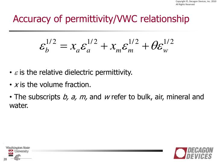 Accuracy of permittivity/VWC relationship