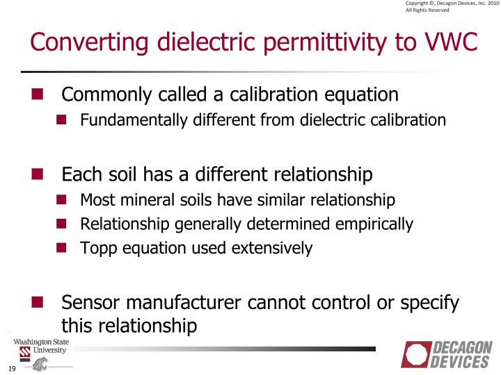 Converting dielectric permittivity to VWC