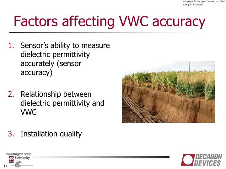 Factors affecting VWC accuracy