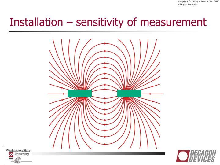 Installation – sensitivity of measurement