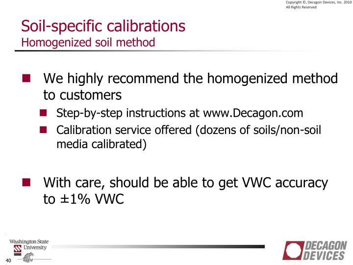 Soil-specific calibrations