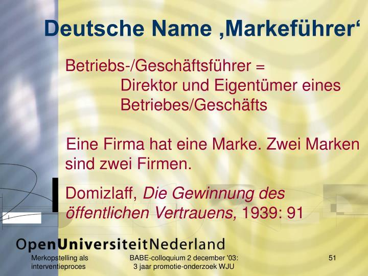 Deutsche Name 'Markeführer'