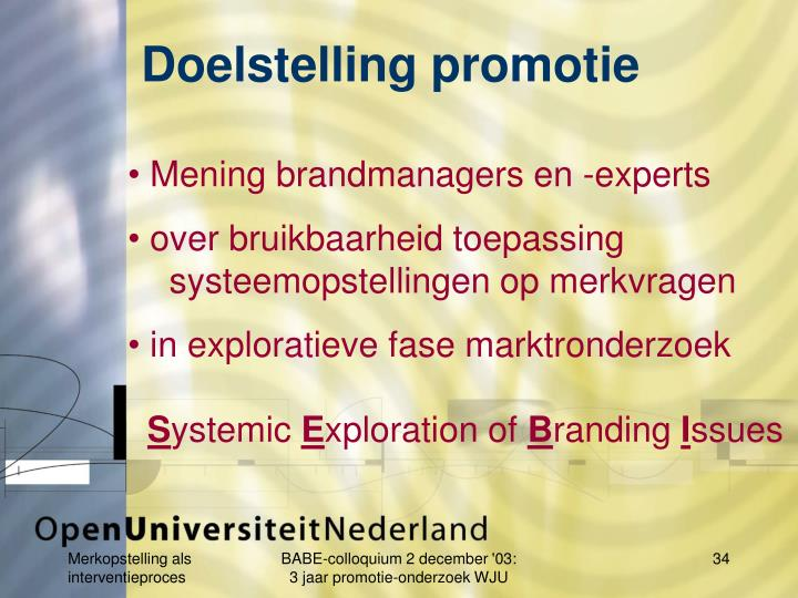 Doelstelling promotie