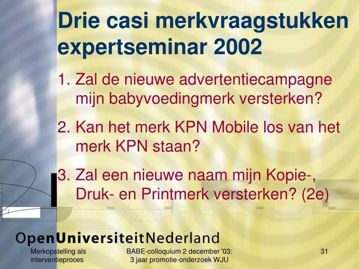 Drie casi merkvraagstukken expertseminar 2002