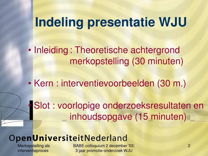 Indeling presentatie WJU