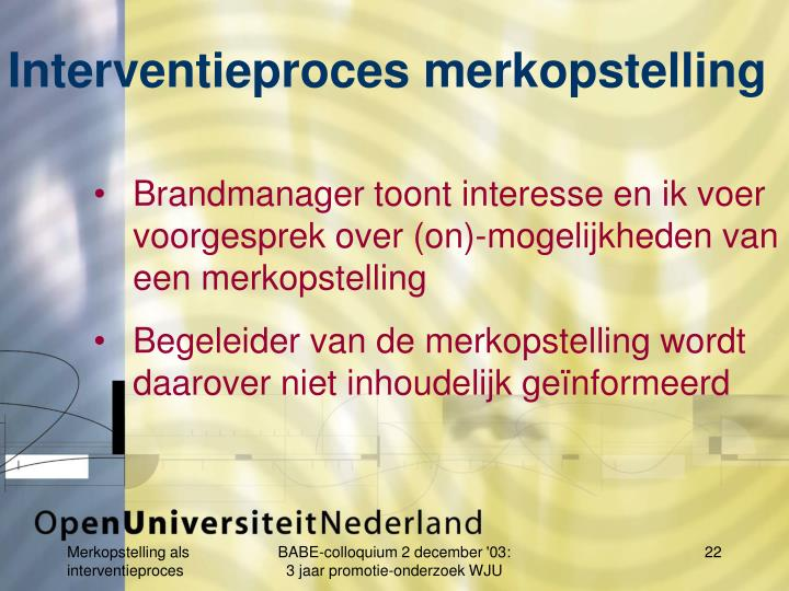 Interventieproces merkopstelling