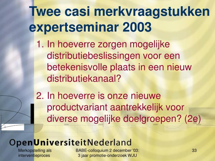 Twee casi merkvraagstukken expertseminar 2003