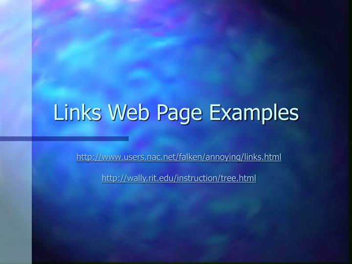 Links Web Page Examples