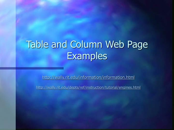 Table and Column Web Page Examples