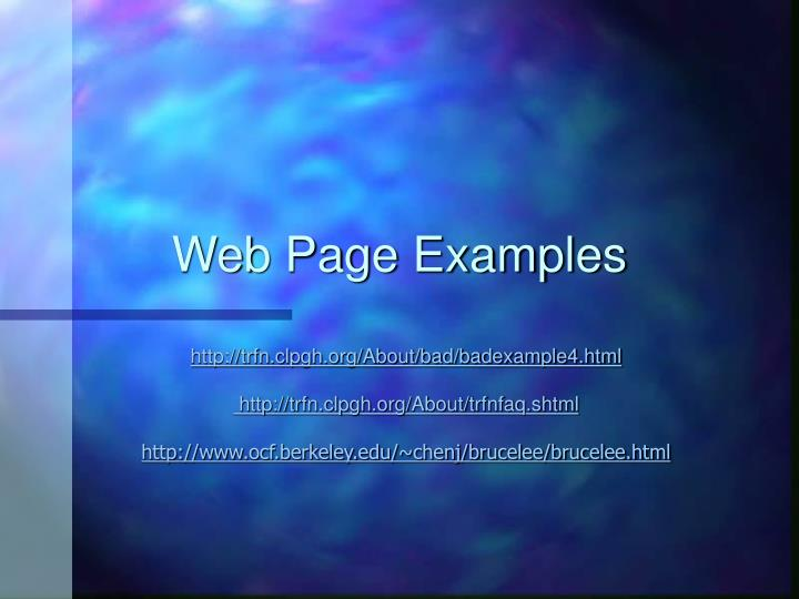 Web Page Examples