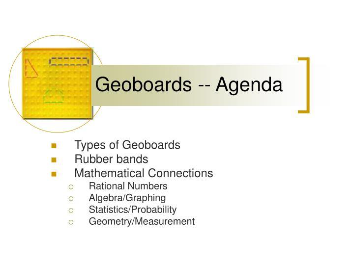 Geoboards -- Agenda