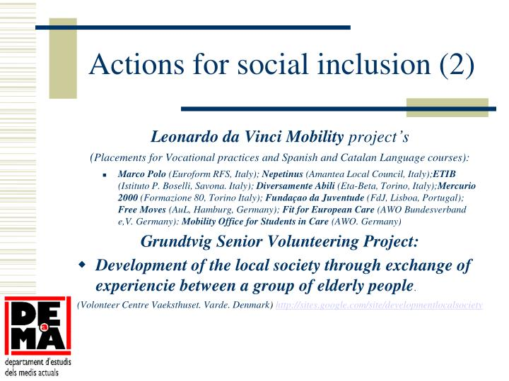 Actions for social inclusion (2)