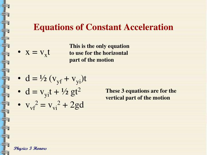 Equations of Constant Acceleration