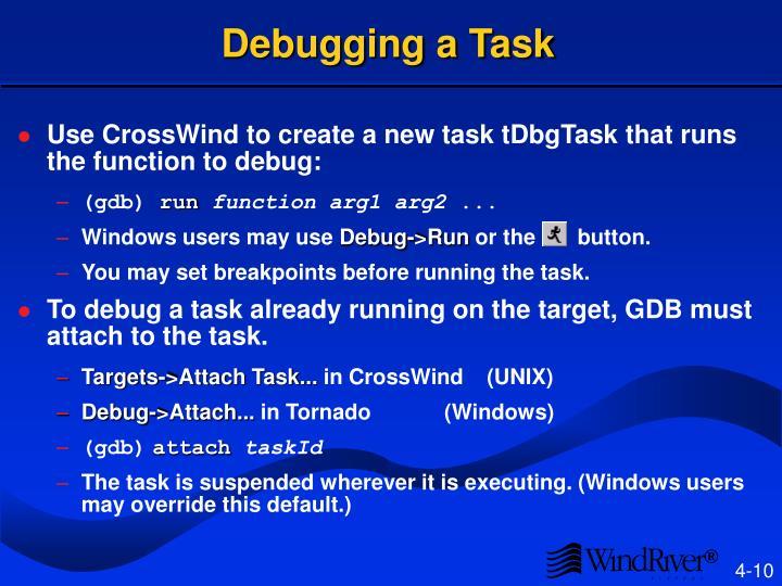 Debugging a Task