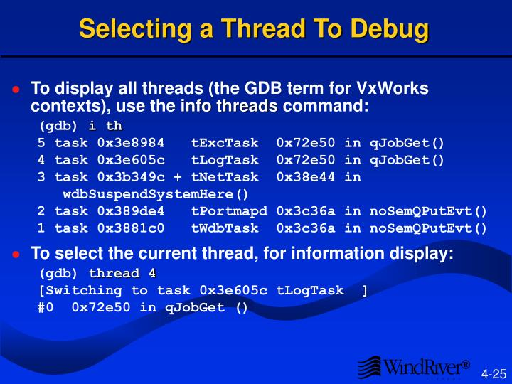 Selecting a Thread To Debug