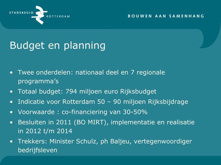 Budget en planning
