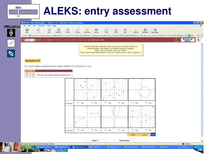 ALEKS: entry assessment