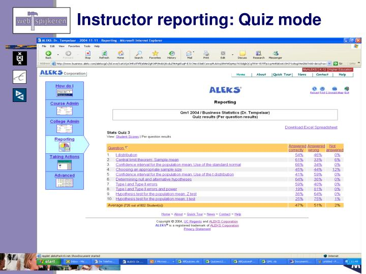 Instructor reporting: Quiz mode