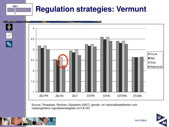 Regulation strategies: Vermunt