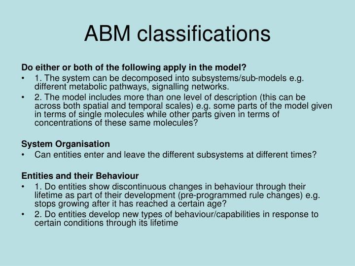 ABM classifications