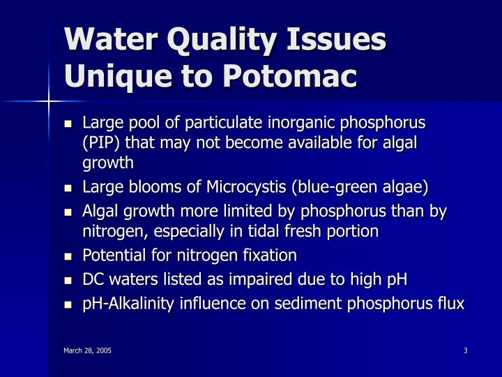 Water quality issues unique to potomac