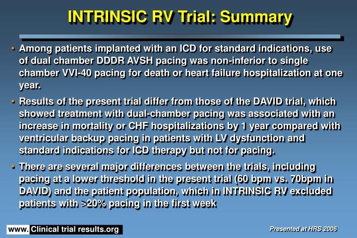 INTRINSIC RV Trial: Summary